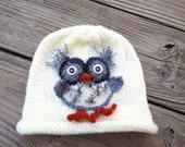 SALE / Owl Children Beanie / Baby Toddler Hat / Fall Winter Beanie / Woodland / White