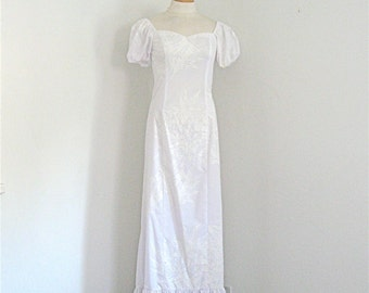 Maxi Dress Vintage Mamo Howell White Hawaiian Dress Boho Wedding Off Shoulder Maxi Prom Quinceanera Country Western M-L