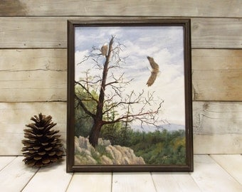 Original Wildlife Painting-- Pair of American Bald Eagles-- Rugged Mountain Terrain
