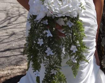 Gorgeous peony, fern cascade with jeweled stephanotis, Bridal package