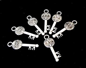 Key Charm Pendant - Silver Key Charm Skeleton Steampunk Charm - Key Earrings Pendant - Metal Jewelry Findings - Diy Craft Jewelry - 20 Pcs