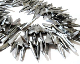 Silver Spike Beads - Mother of Pearl Shell Stick -  Top Drilled Pointy Shell - Semiprecious Stone - Bohemian Jewelry Making