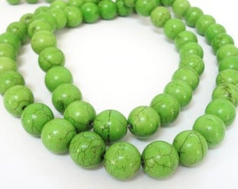"Green Round Beads - Howlite Gemstone Drilled Beads - Brown Matrix Turquoise Beads - Necklace Beads - 12mm - 16"" Strand - Jewelry Making"