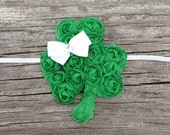 St. Patty's Day Headband, Shamrock Headband, Baby Headband, Shamrock Shabby Chic Headband, St. Patrick's Day Headbands, FREE SHIPPING PROMO