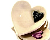 ceramic heart dish with sculpted heart minimalistic modern ring bowl ring bearer bowl wedding ring bowl ring dish off white cream and black
