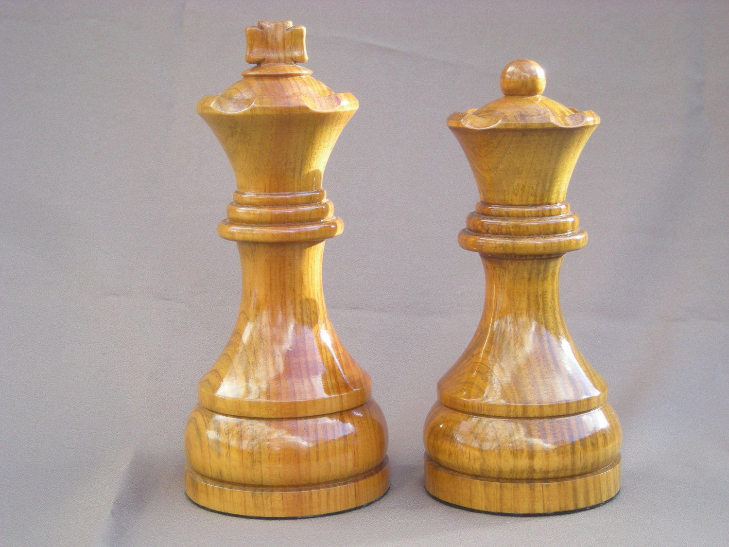 Large Chess Pieces King And Queen Set Wood By Justingordon