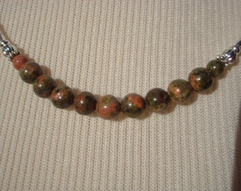 Unakite and Silver Tube Necklace