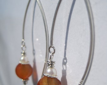 Faceted Carnelian and Pearl Earrings