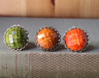 Moss Green, Rusty Brown, Burnt Orange, Autumn/Fall Colors, Adjustable Ring