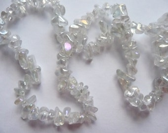 Bead, Glass, Clear AB,  Iridescent, Rainbow Finish,  Small, Chip, Pkg Of 17 in