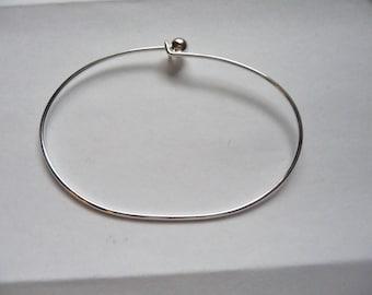 Bracelet, Beading Bangle, Silver Plated Brass, 70x50mm, Oval, Screw On Bead, Pkg of 1