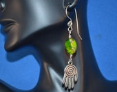Hopi Hand Earrings, Green Earrings, Jasper Earrings, Silver Hand, Dangle Earrings, Green Dangle Earrings, Imperial Jasper, Sterling Silver