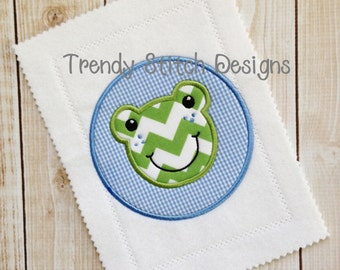 Froggy Boy Circle Applique Design Machine Embroidery Design INSTANT DOWNLOAD