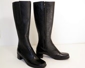60s boots / 60s vintage black winter boots / waterproof 60s tall rubber boots / felt-lined chunky heel vintage boots / Winterproofs / size 7