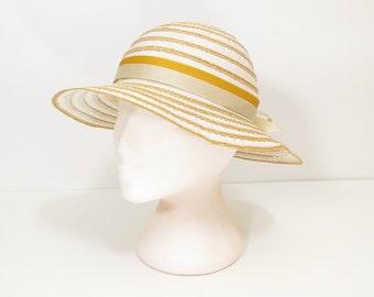60s 70s straw hat / 60s 70s vintage summer hat / 60s 70s vintage capeline hat / 60s 70s ladies brim hat / Italy