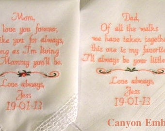 WEDDING GIFTS, Embroidered Wedding Handkerchiefs, for your PARENTS, by Canyon Embroidery