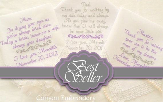 Pinterest Favorite, Embroidered Wedding Hankerchiefs, Wedding Gift,  By Canyon Embroidery