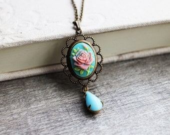 Romantic Rose Cameo with Jewel Necklace. spring collection, vintage style, wedding jewelry, bridesmaid gift