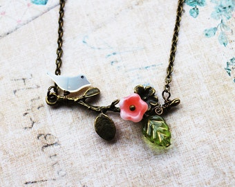 Tree Branch Necklace. blossoms necklace. bird on tree necklace. flowers branch and little bird  in antique brass