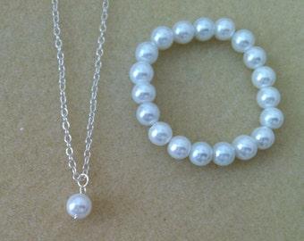 Flowergirl pearl pendant necklace and pearl bracelet gift set -  weddings, flowergirl jewelry