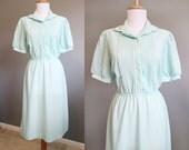 Mint Green Dress Vintage Pastel 1970s Seafoam Medium
