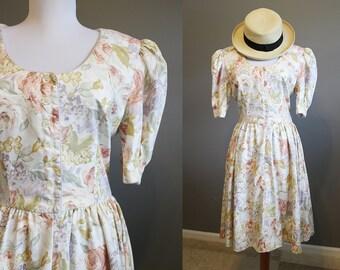 Floral Party Dress Vintage Tea English Victorian Medium