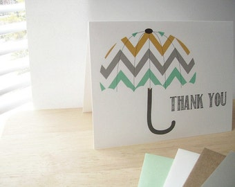 Umbrella Thank You Card - Chevron Umbrella Thank You Notes,  Mint Charcoal Grey Mustard Yellow Beach Umbrella Thank You, Baby Bridal Thanks