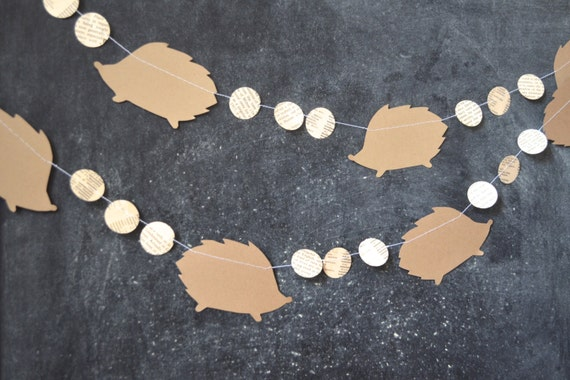 Hedgehogs and Circles Garland - brown and vintage book paper banner, custom colors available