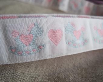 ROCKING HORSE hearts jacquard woven ribbon