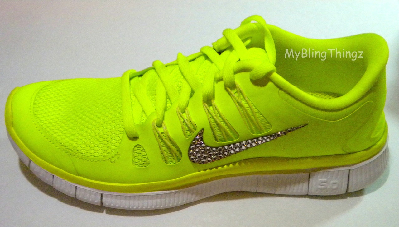 CLEARANCE Bling Nike Free Run 5.0 Shoes Neon Yellow