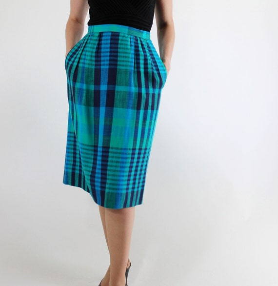sale vintage 1980s bright blue green plaid skirt office