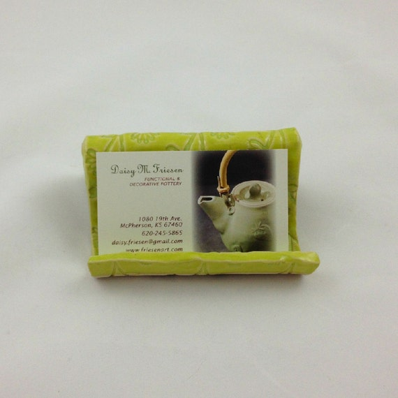 Pottery business card holder recipe card holder in chartreuse for Pottery business cards