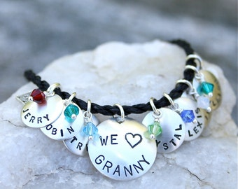 Modern Charm Bracelet for Mom/Grandma/Nana/Aunt/Godmother - in choice of Black/Brown/Natural/White