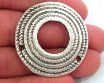 2 Pcs. (38 mm)  Antique Silver Plated Metal  Connector  with two holes, Pendant G1271