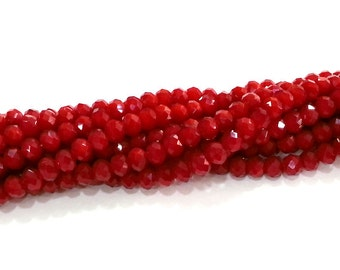 90 Pcs (6x5 mm) Crimson Red Rondelle Faceted Glass Beads , 1 strand approx.  45 cm  ( approx. 17,5 inch) G2547