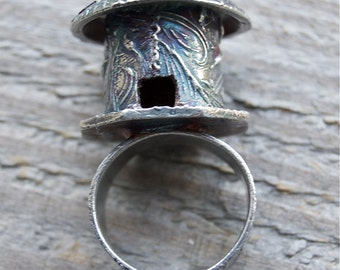 castle ring, silver ring, vines, hut ring, cattails, brick, size 9