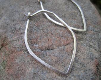 Casual Brushed Sterling Silver Lotus Petal Hoop Earrings