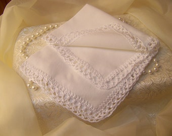 White Handkerchief, Hanky, Ladies, Hand Crochet, Bridal, Lace, Personalized, Embroidered, Monogrammed, Lacy, Ready to ship
