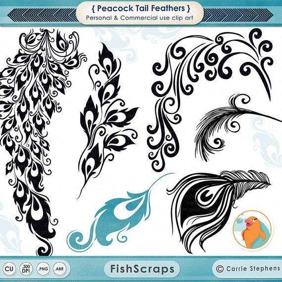 Peacock Tail Feather Clip Art, Decorative Design for Vinyl, Digital Album Graphic, DIY Chic Wedding Invitations, Peacock ClipArt