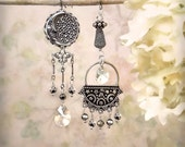 RESERVED for Alana - Bella Luna Sterling Silver and Marcasite Assemblage Earrings Romantic Crescent Moon Star Earrings Boho Gypsy Celestial
