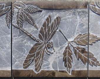 8x24 Dragonfly and Leaves - 3 piece Etched Emperador Dark Marble Mural