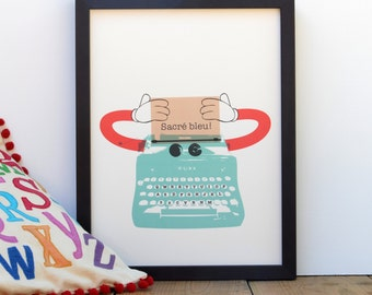 Aqua Robot - Can be personalized! Typewriter Decor Print for Nursery, Play Room, Home