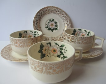 Vintage Teacups and Saucers Dogwood Green White Gold Set of Three