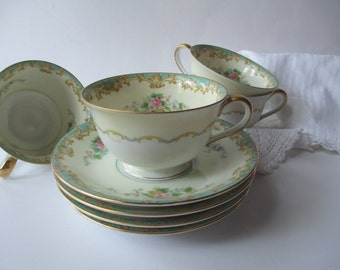 Vintage Noritake Adela Seafoam Green & Pink Teacups and Saucers Set of Four