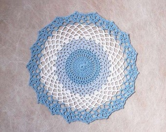 Shades of Blue Crochet Lace Doily, New, Ocean Waves Design, Modern Table Decor