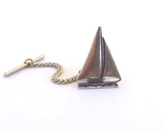 Small Sailboat Tie Tack- Sterling Silver Ox Finish- Small Sailboat