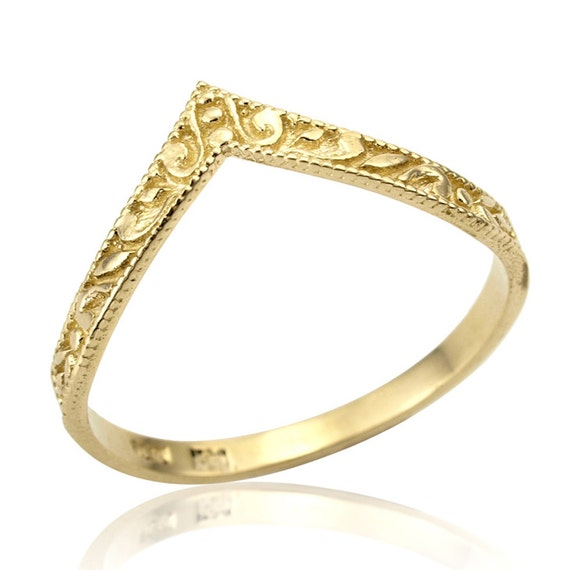v shaped curved art deco 14k gold wedding band by netawolpe