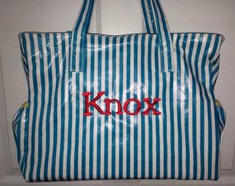 Personalized diaper bag teal stripe yellow trim