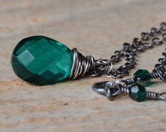 Teal Green Quartz Pendant Sterling Silver Necklace Oxidized Wire Wrapped Gemstone Jewelry Dark Teal Green Hydro Quartz Necklace