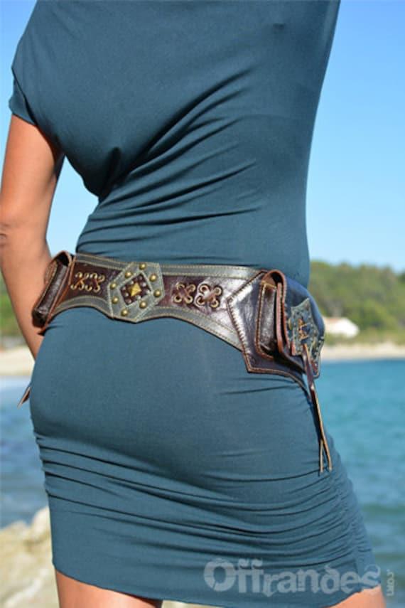 """Leather Utility Hip Belt _""""HiPStaR""""_ High Quality Handmade Designer Pocket Belt Bag /Gypsy/Nomad/Urban [Festival belt.Travel.Hip Purse]"""